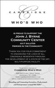 Cambridge Who's Who Heroes in the Community Journal Ad